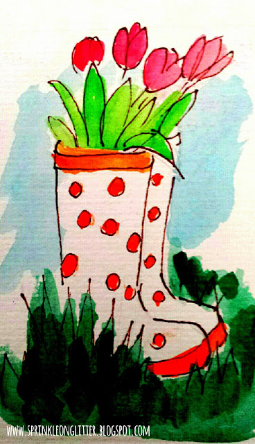 In the Garden- watercolor- write 31 days