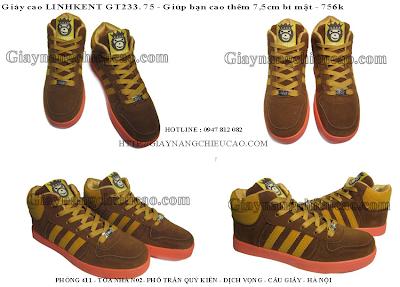 Giày nam nâng chiều cao Linhkent GT233. 75