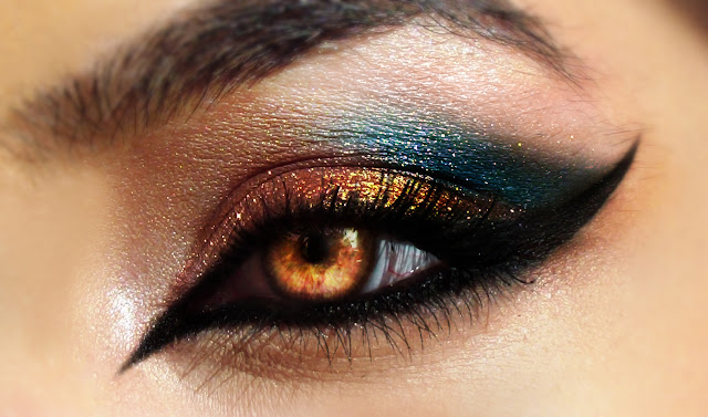 Golden and Green Shade Eye Makeup