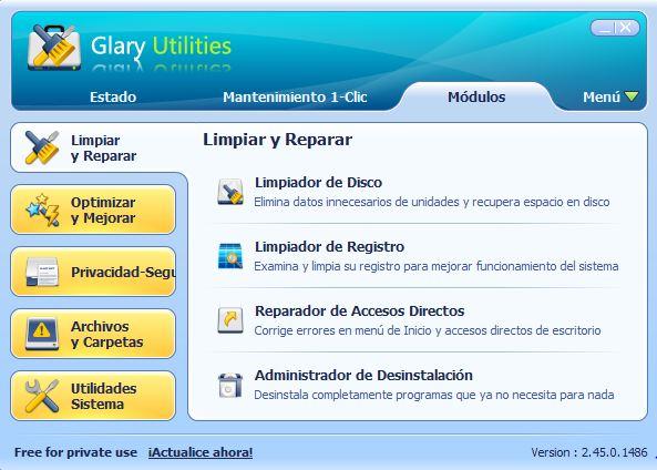 Glary Utilities modulos