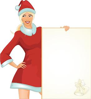 クリスマスを彩る女性のテキスト ボード people christmas girl vector イラスト素材3