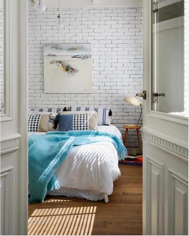 Witte bakstenen muren ~ Quarto Tijolo Branco