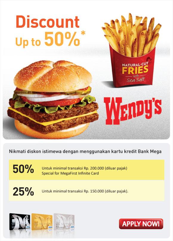 Promo Wendy's Terbaru Discount up to 50% berlaku s.d. 31 Juli 2013