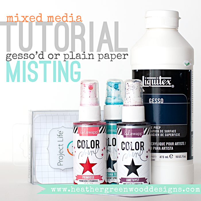 Heather Greenwood | Mixed Media Tutorial | misting experiment on project life grid cards