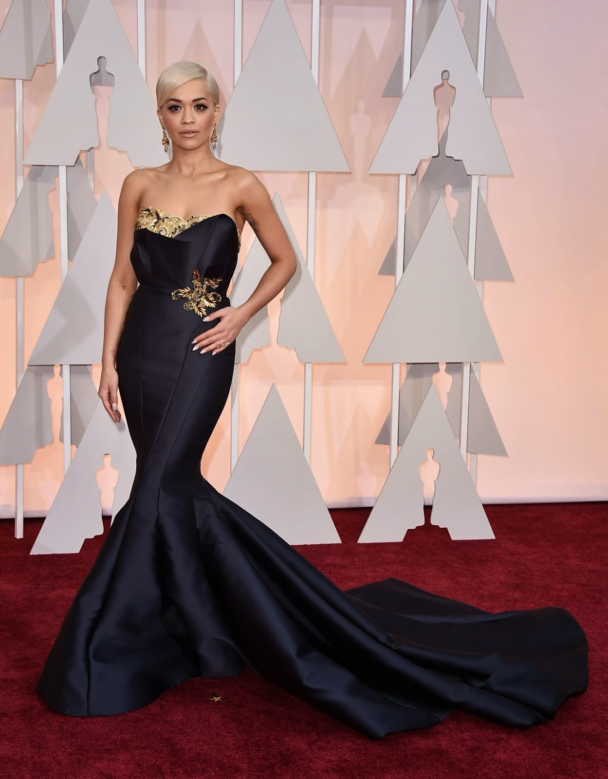 Rita Ora wears a Marchesa corset gown to the 2015 Oscars in Hollywood