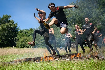 Spartan Sprint London fire jumping