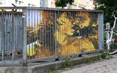 Amazing painting on barred fence