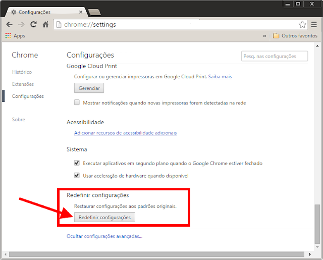 Google Chrome - Redefinir