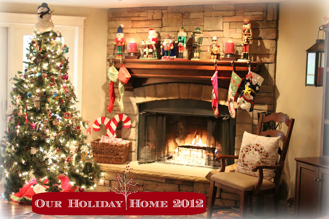 Rustic corner fireplace at Christmas with German nutcrackers via www.goldenboysandme.com