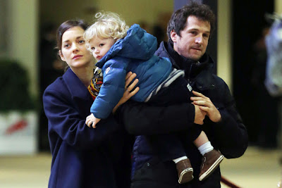 The Dark Knight Rises Actress Marion Cotillard with child Marcel and Husband