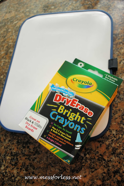 dry erase board and crayons