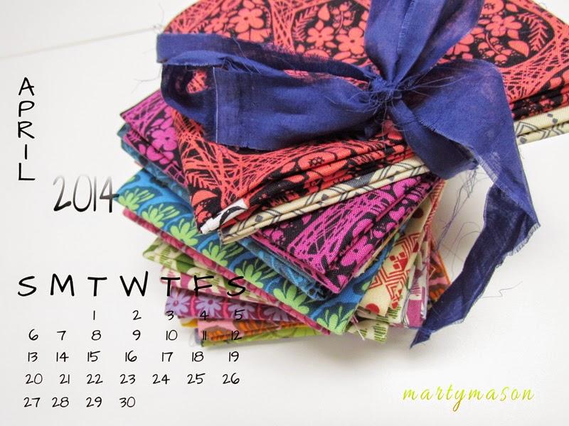 April, 2014 Quilters' Calendar - Marty Mason