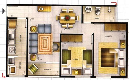 Modelo De Planta Baixa Com 1 Quarto 1 Su Te Sala De