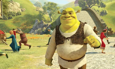Shrek striding confidently through the alternate universe while passers-by run for cover