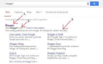 imagen con ejemplo de los resultados de búsqueda al buscar en una página web
