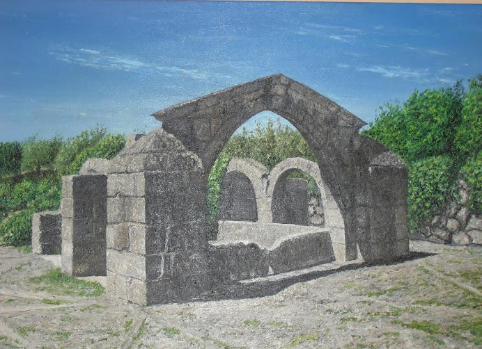 FUENTE CONCEJA (Zarza la Mayor). Pintura realizada por Miguel Murillo. Diciembre 2011