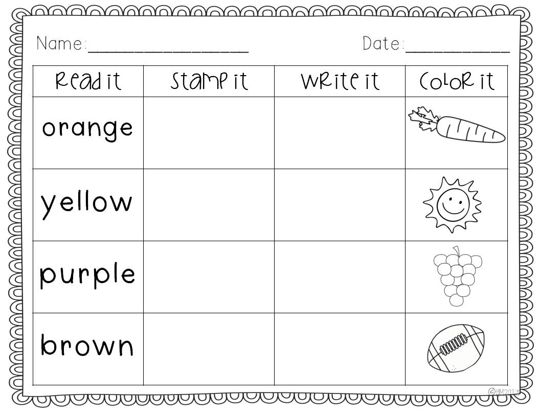 Color Words Worksheets : Color words and august journals miss kindergarten