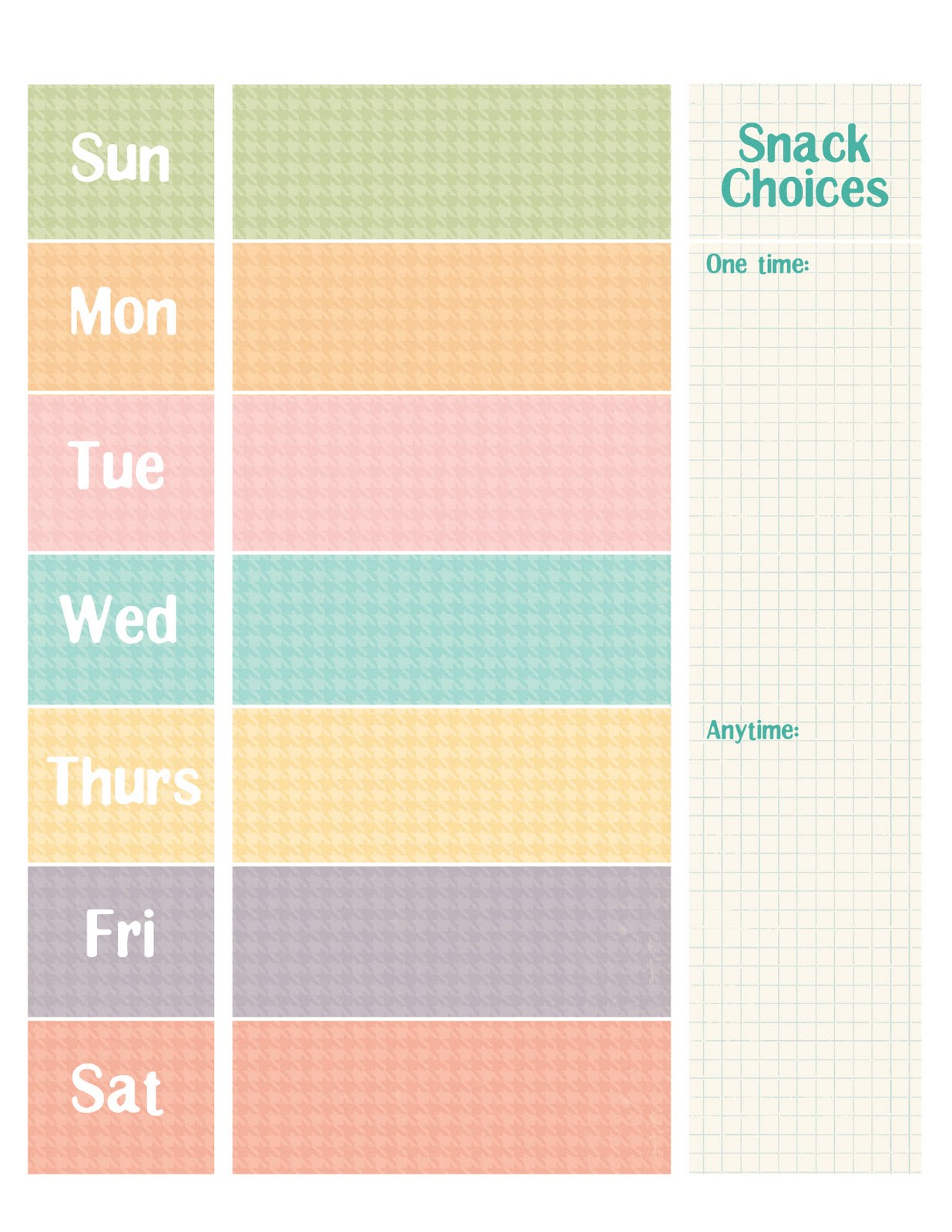 weekly schedule chart