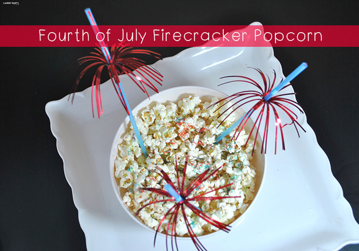Fourth of July Firecracker Popcorn - This fun and festive treat is the perfect treat to eat while watching the fireworks!