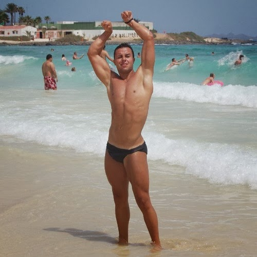 Man with Shaved Armpits at the Beach