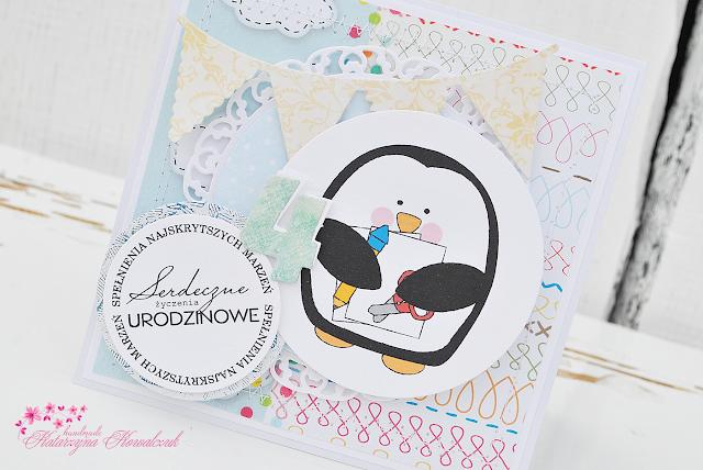 Urodzinowa kartka z pingwinkiem