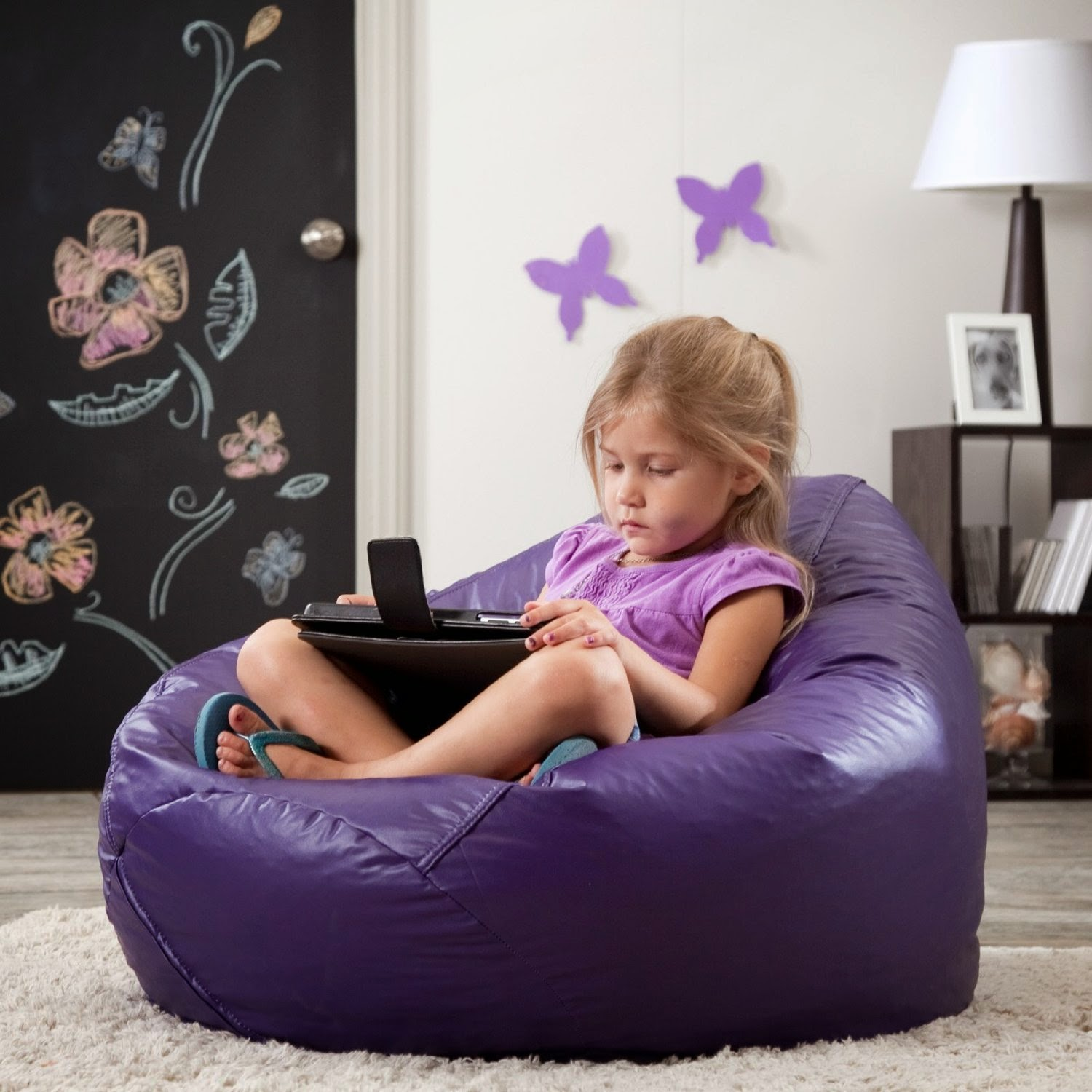 Bean Bag Chairs For Kids Purple vinyl bean bag chairs | ira design