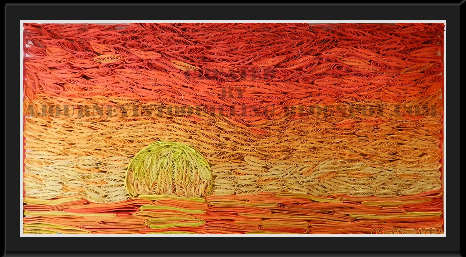 A journey into quilling paper crafting orange sunset for Landscape design paper