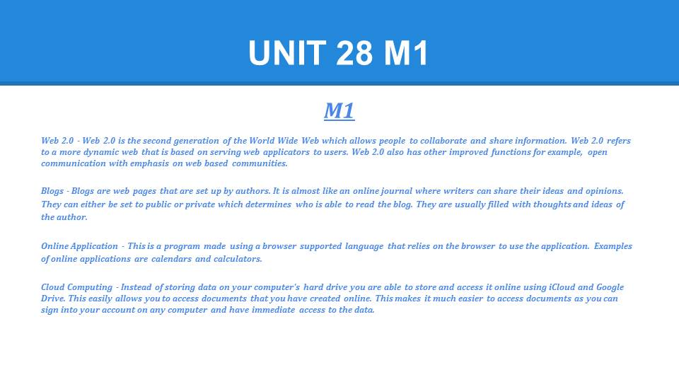 unit 7 m1 d1 the Unit 7 sociological perspectives for health and social care assignment brief forms learner declaration form for unit 7 p3 m2 d1: file size: 241 kb: file type: pptx: download file useful resources 9174_u7g_powerpoint1ppt: file size: 852 kb: file type: ppt.