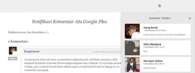Notifikasi Komentar ala Google Plus