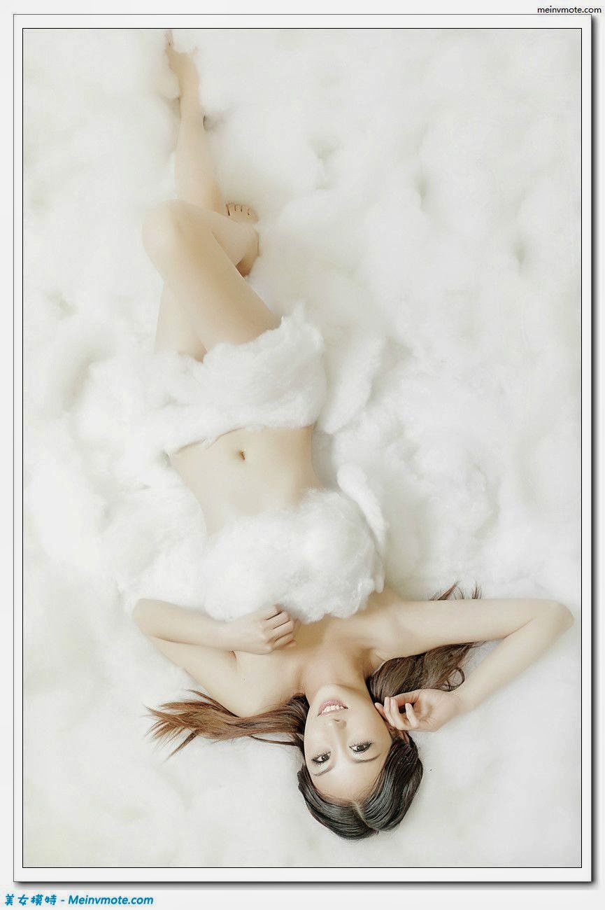 Sweetheart girl wrapped in cotton under