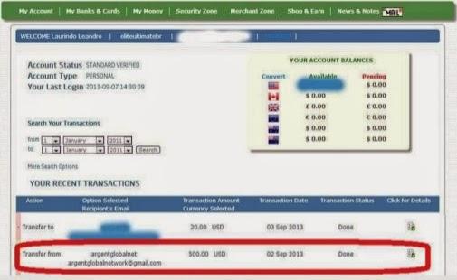prima prova di pagamento da Argent Global Network - altre prove