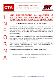 NOS EQUIVOCAMOS AL VALORAR LA SOLICITUD DE AMPLIACIÓN DE LA TURNICIDAD EN JORNADAS ESPECIALES
