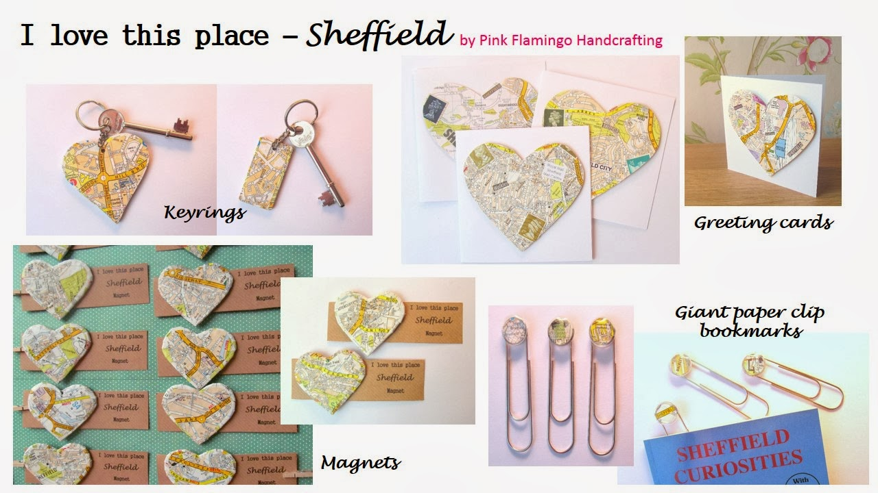 Sheffield map keyring, bookmark, card, magnet range by Pink Flamingo Handcrafting