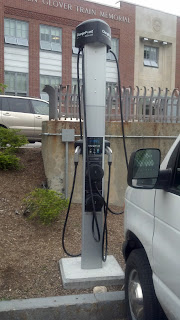 Electric car charging station in Town Hall parking lot