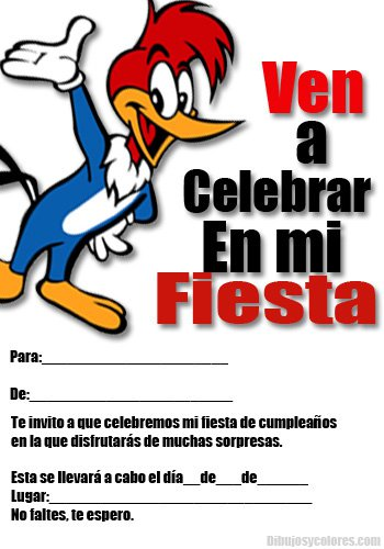 Imagenes Postales y Tarjetas: Invitacin de Cumpleaos para imprimir