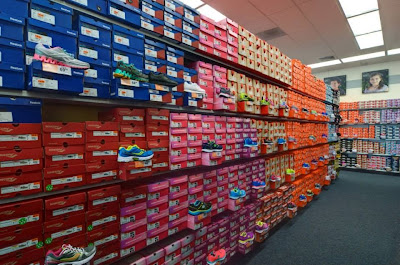 Lots of running shoes at Rack Room Shoes in Bastrop, Texas