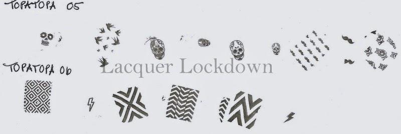 Lacquer Lockdown - Topatopa, Topatopa Nail Art Stamping plates, nail art stamping blog, new nail art stamping plates 2014, new nail art image plates 2014, nail art, nail art stamping, review, pueen 2014, cute nail art ideas, diy nail art
