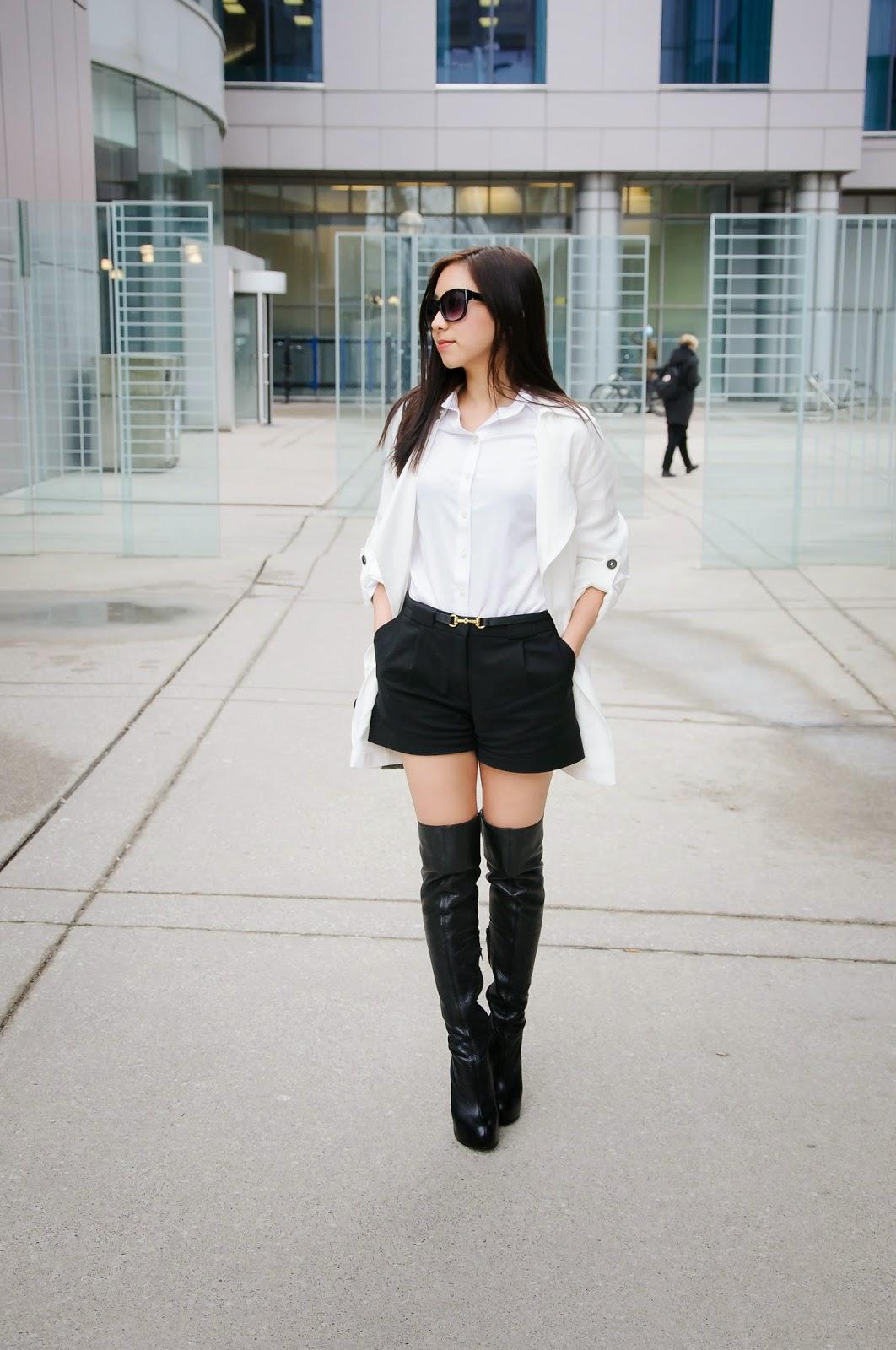 monochrome thigh high boots toronto fashion