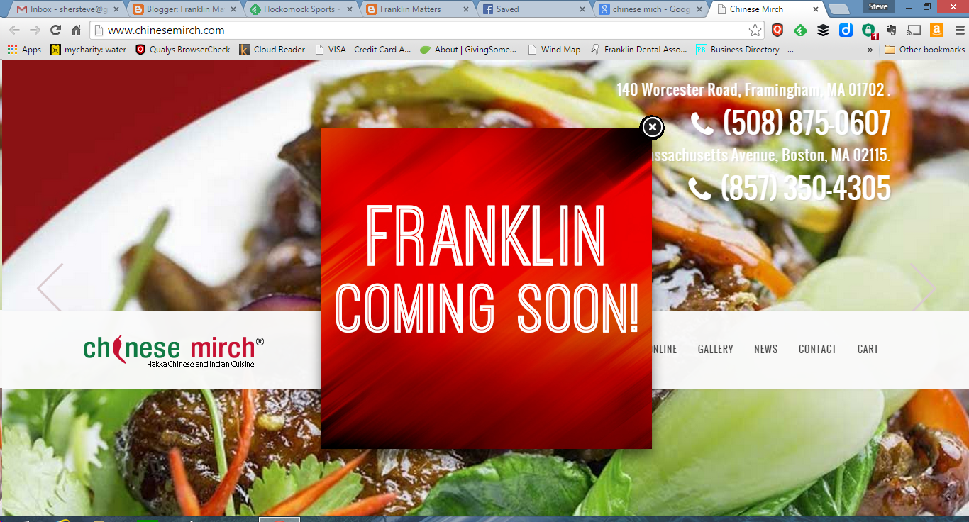 Chinese Mirch opening soon