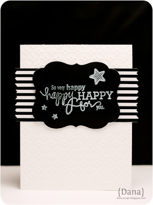 handmade card in black and white with embossed card base