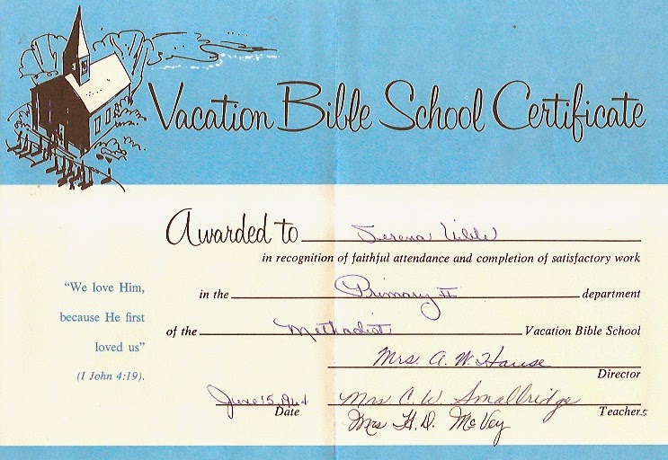 Uibles A Family Blog 1964 Serenas Bible School Certificate Jun15