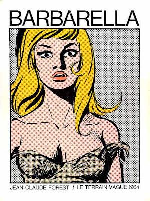 Barbarella, jeune femme, épaules dénudées, robe déchirée, blonde, dessin, décolleté