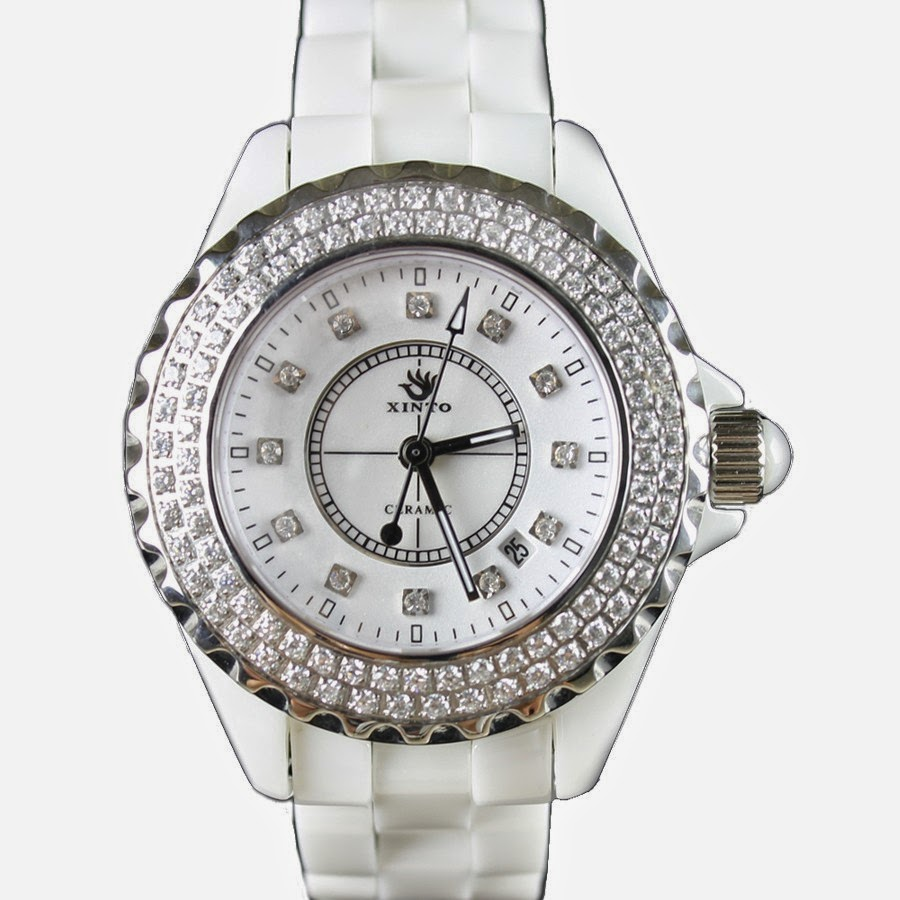 Beautiful transparent Diamond Watch For Ladies With White Dial