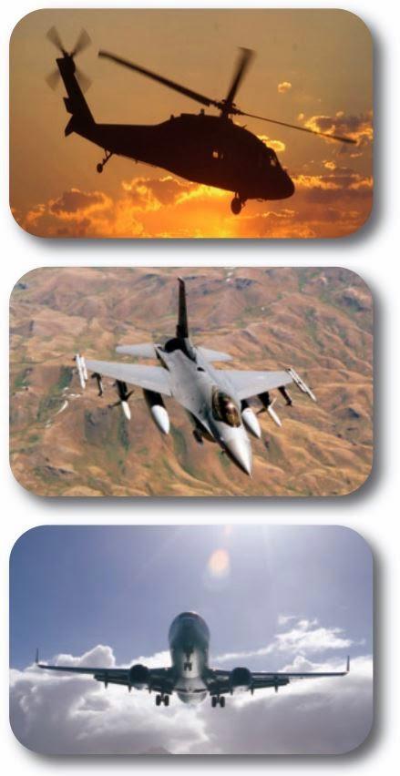 Вертолет и самолеты в полете