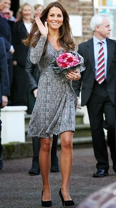 Catherine Middleton wears grey Max Mara dress, Febr 2013