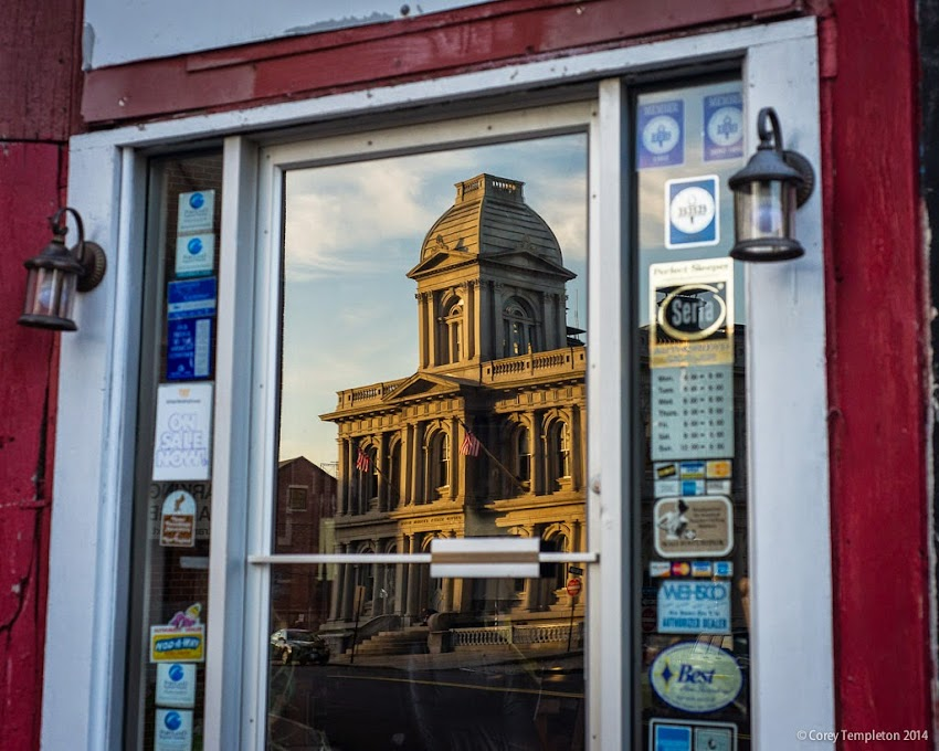 Portland, Maine Custom House on Fore Street reflection in the Old Port September 2014 photo by Corey Templeton