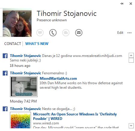 Prikaz statusa sa društvenih mreža
