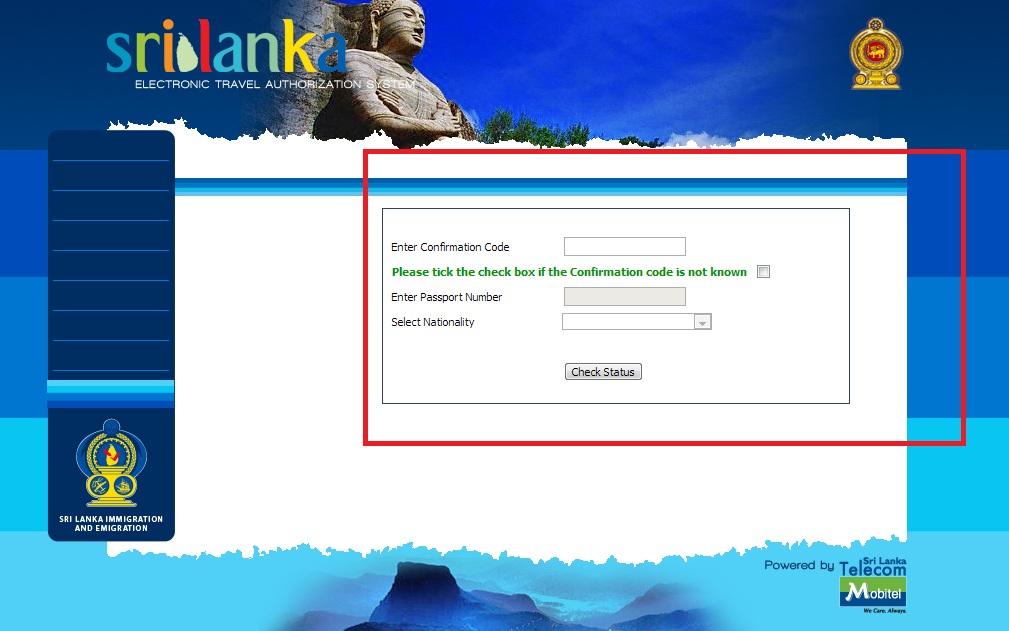 mode d'emploi pour eta au Sri Lanka