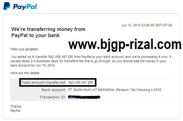 Transfer Pembayaran dari Paypal