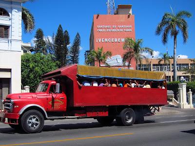 Santiago de Cuba truck transports people
